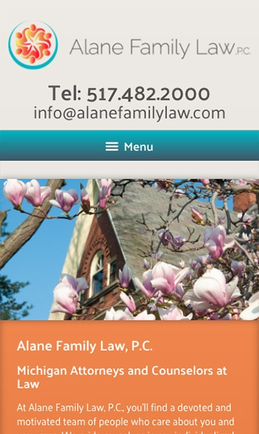 Responsive Mobile Attorney Website for Alane Family Law. P.C.