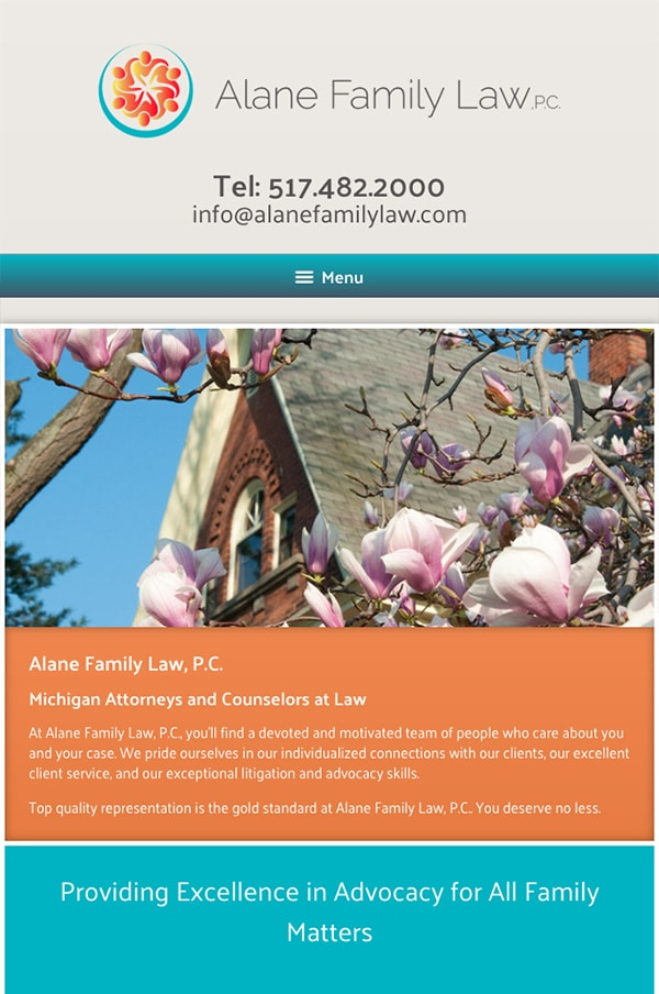 Mobile Friendly Law Firm Webiste for Alane Family Law. P.C.