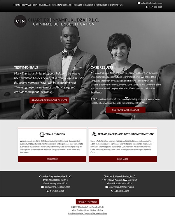 Law Firm Website Design for Chartier & Nyamfukudza, P.L.C.