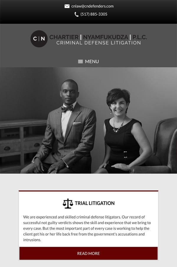 Mobile Friendly Law Firm Webiste for Chartier & Nyamfukudza, P.L.C.