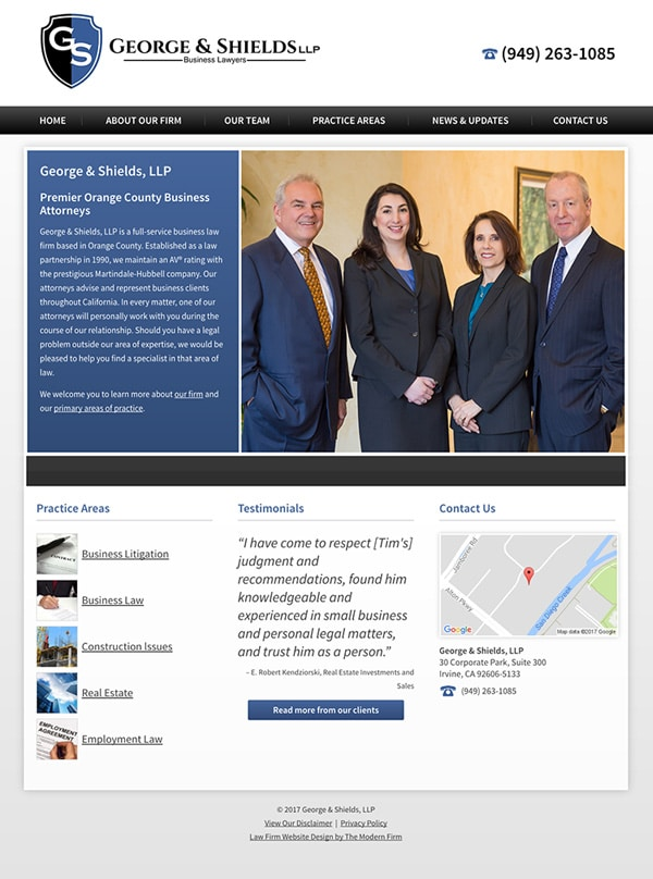 Law Firm Website Design for George & Shields, LLP
