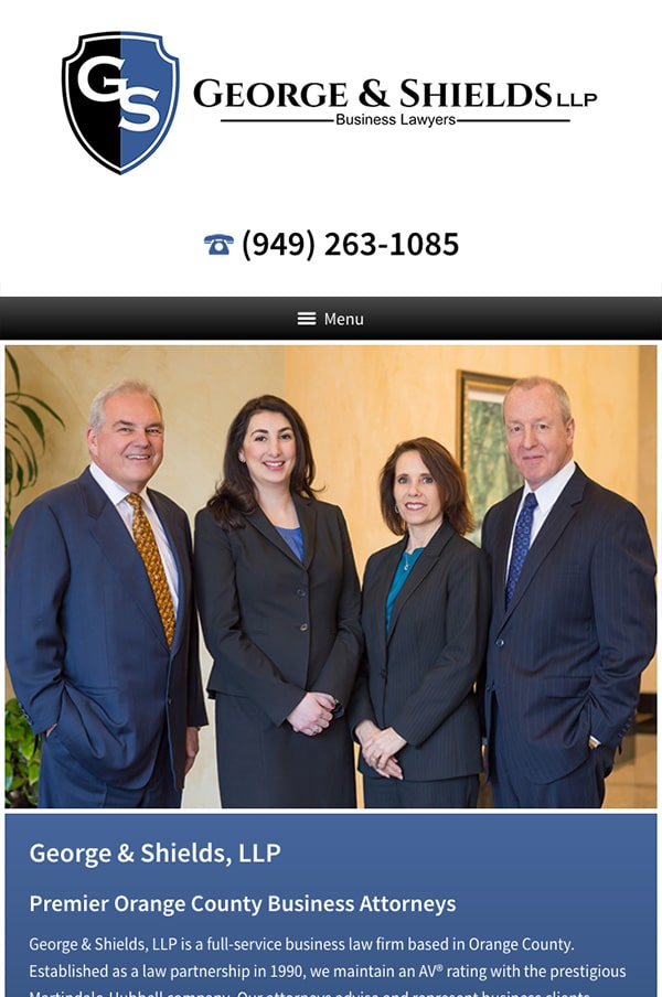 Mobile Friendly Law Firm Webiste for George & Shields, LLP