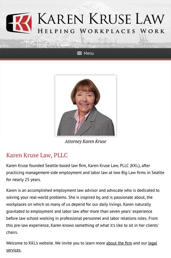 Mobile Friendly Law Firm Webiste for Karen Kruse Law, PLLC
