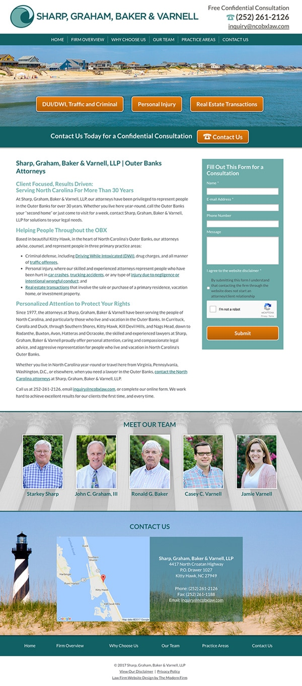 Law Firm Website Design for Sharp, Graham, Baker & Varnell, LLP