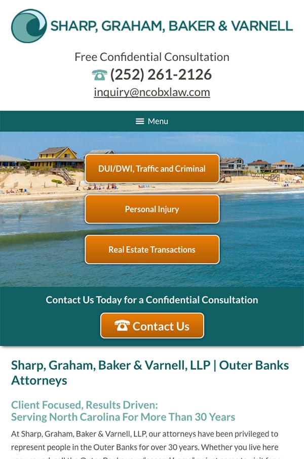 Mobile Friendly Law Firm Webiste for Sharp, Graham, Baker & Varnell, LLP