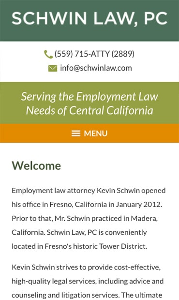 Responsive Mobile Attorney Website for Law Office of Kevin Schwin