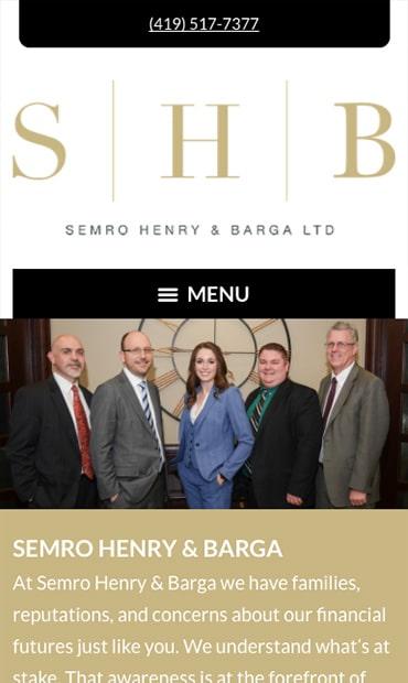 Responsive Mobile Attorney Website for Semro Henry & Barga Ltd.