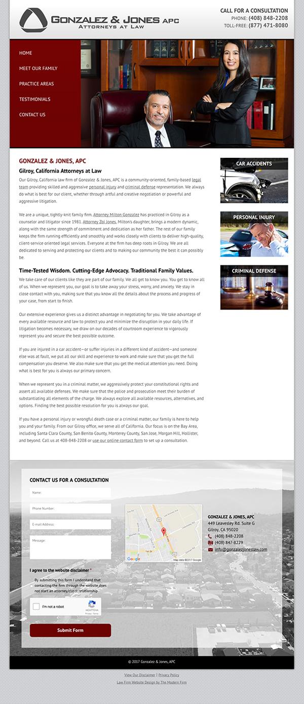 Law Firm Website Design for Gonzalez & Jones, APC