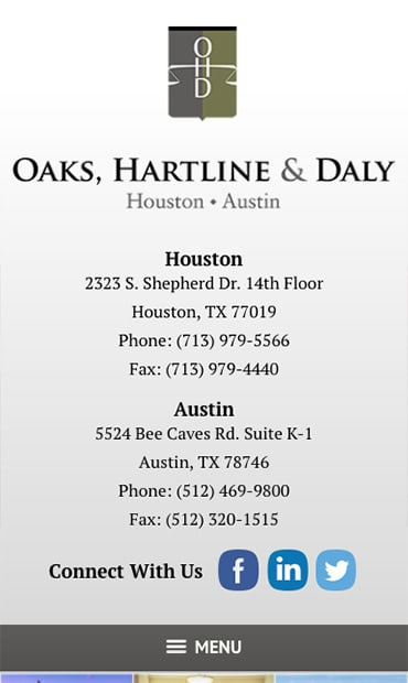 Responsive Mobile Attorney Website for Oaks, Hartline & Daly, LLP