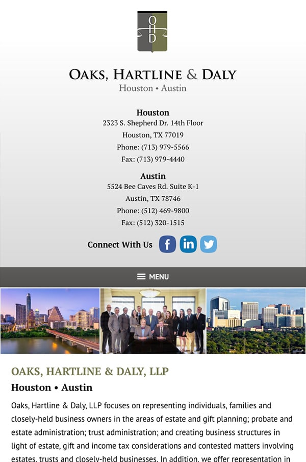 Mobile Friendly Law Firm Webiste for Oaks, Hartline & Daly, LLP