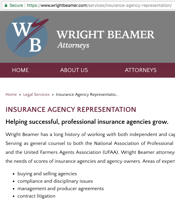 WrightBeamer Insurance Agents webpage