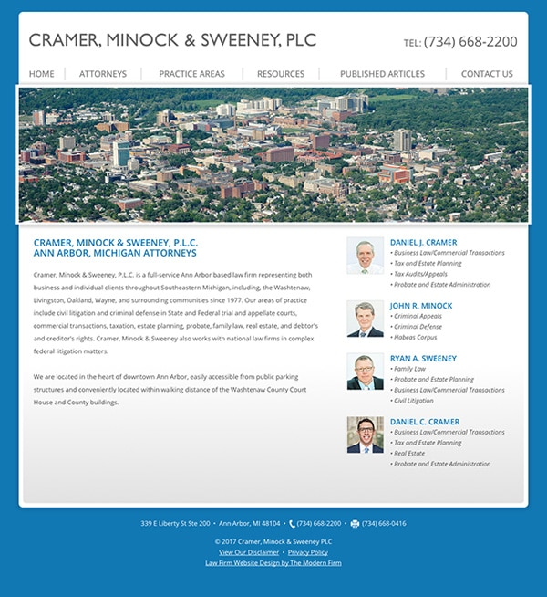 Law Firm Website Design for Cramer, Minock & Sweeney PLC