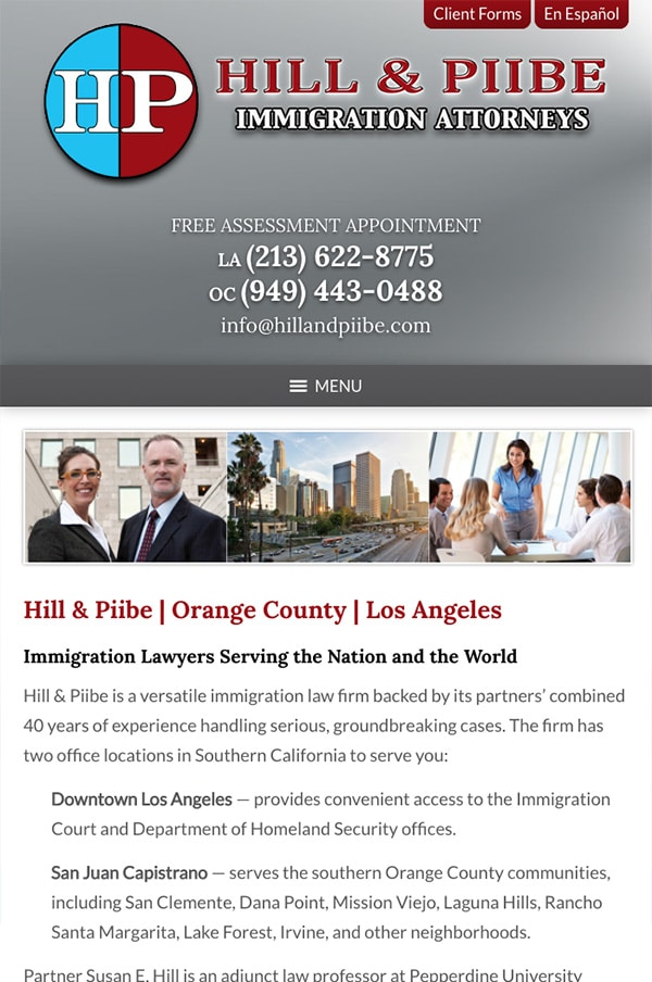 Mobile Friendly Law Firm Webiste for Hill & Piibe, Immigration Attorneys