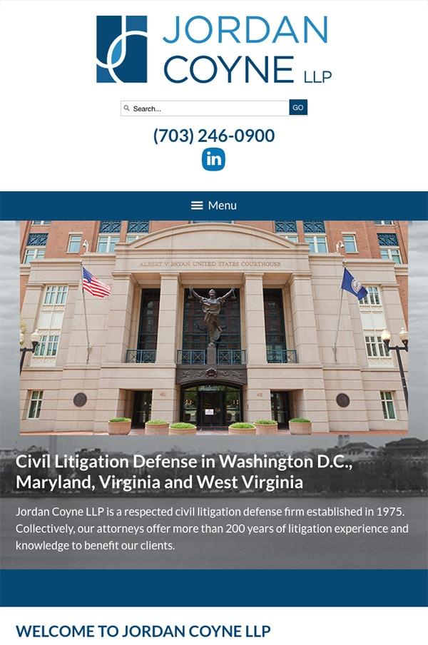 Mobile Friendly Law Firm Webiste for Jordan Coyne LLP