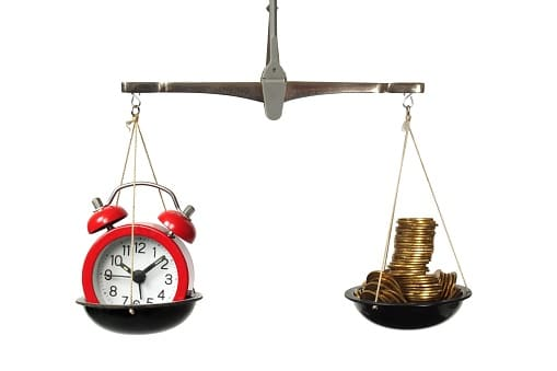 Weighing Clock and Money On Scale