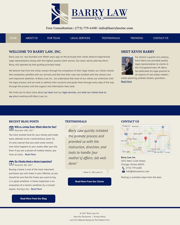 Law Firm Website Design for Barry Law, Inc.