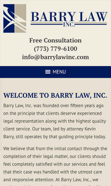 Responsive Mobile Attorney Website for Barry Law, Inc.