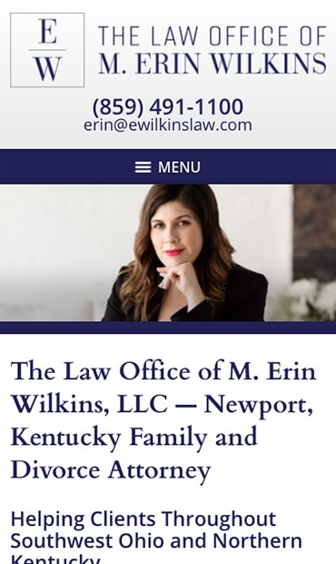 Responsive Mobile Attorney Website for Law Office of M. Erin Wilkins, LLC