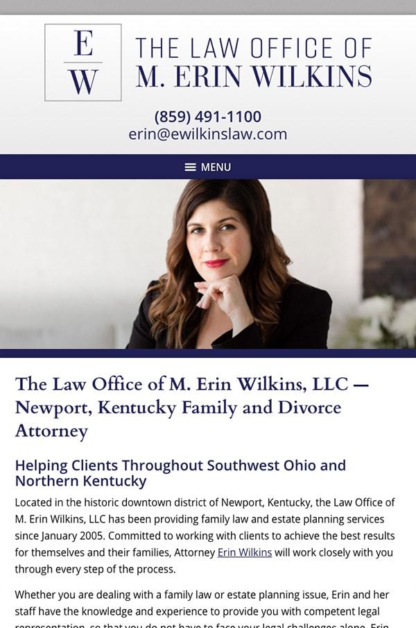 Mobile Friendly Law Firm Webiste for Law Office of M. Erin Wilkins, LLC