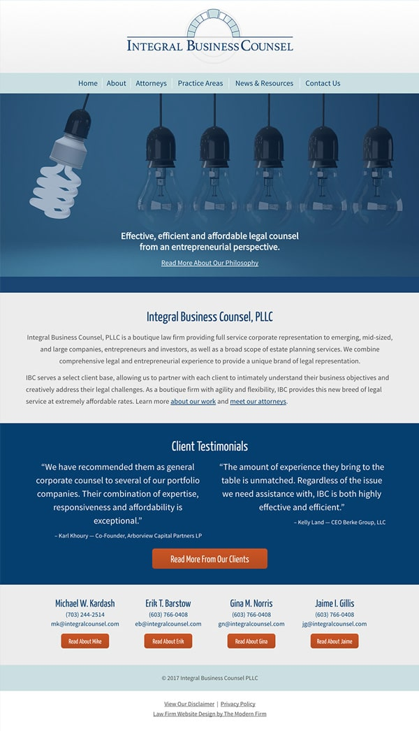 Website Design for Law Firm Integral Counsel