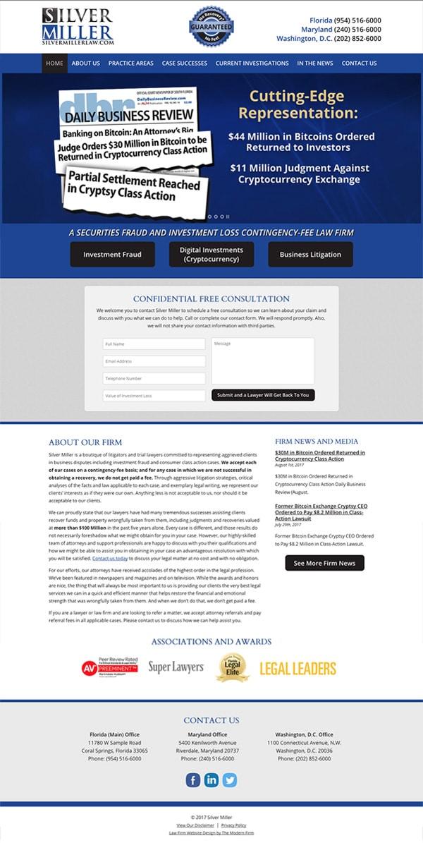 Law Firm Website Design for Silver Miller