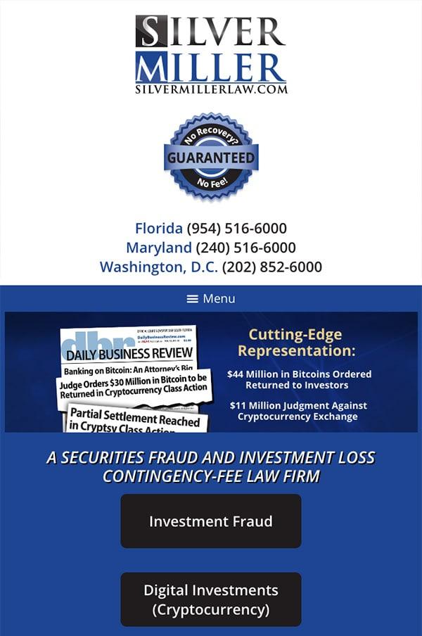 Mobile Friendly Law Firm Webiste for Silver Miller