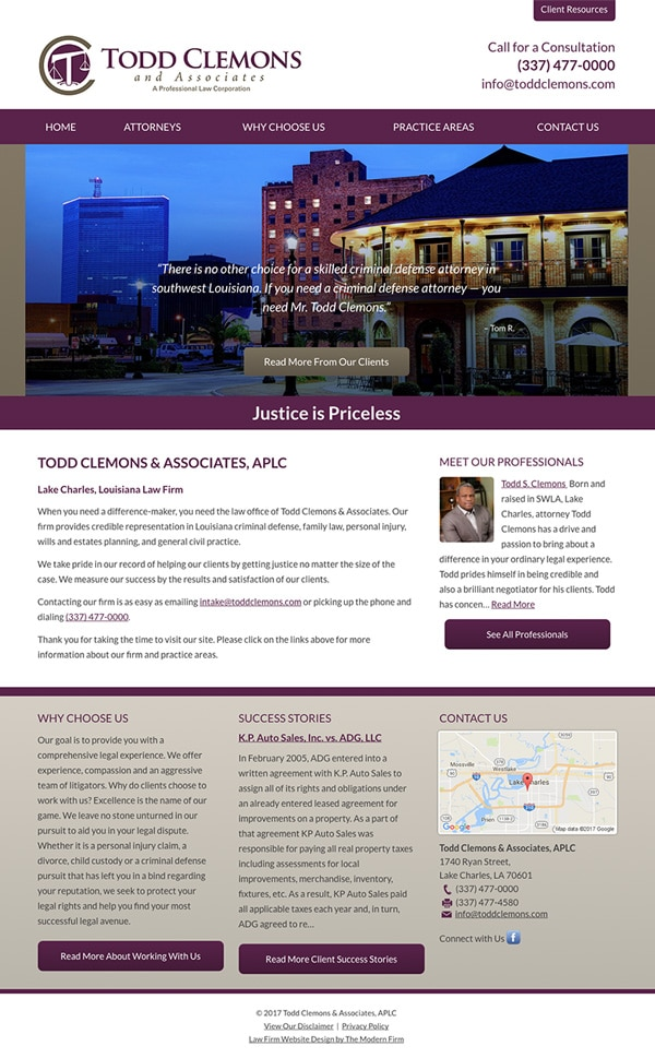 Website Design for Louisiana Attorney Todd Clemons