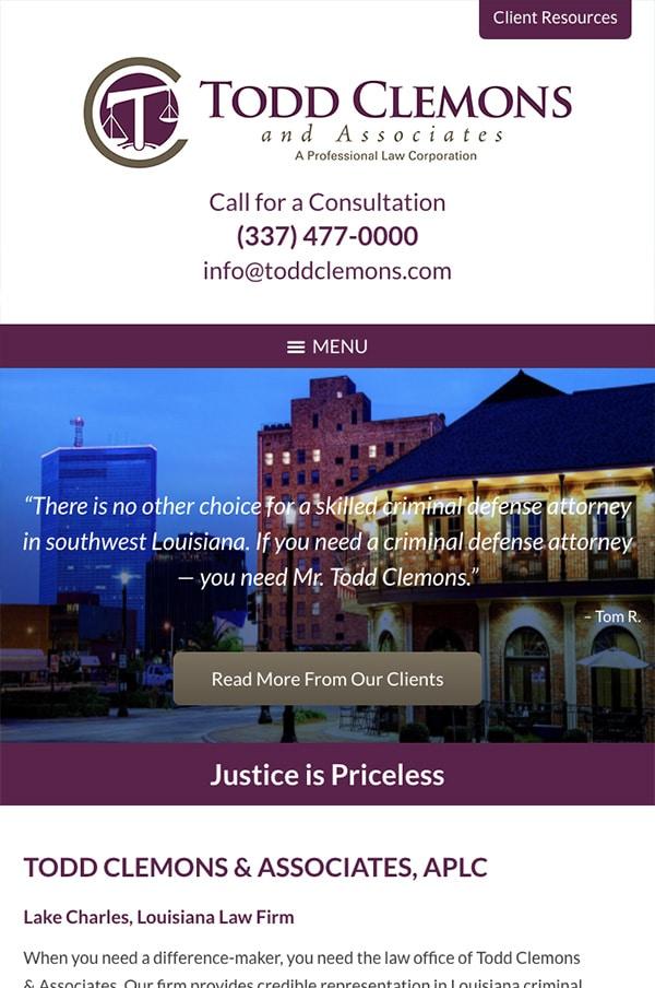 Mobile Friendly Law Firm Webiste for Todd Clemons & Associates, APLC