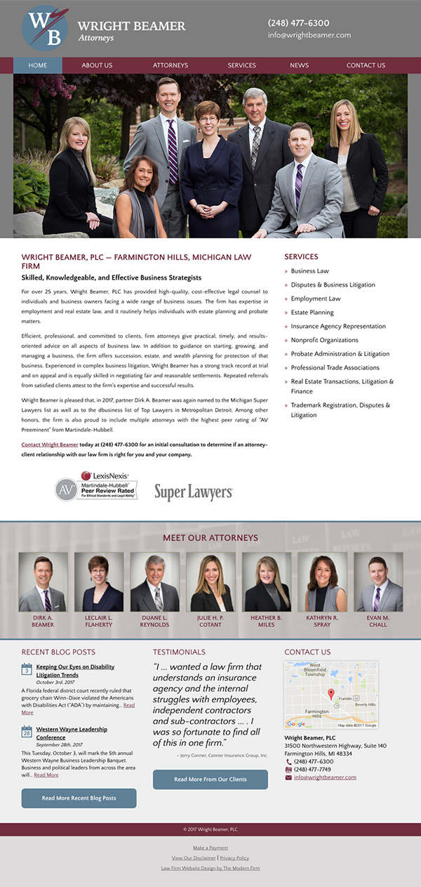 Law Firm Website Design for Wright Beamer, PLC