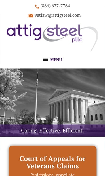 Responsive Mobile Attorney Website for Attig | Steel, PLLC