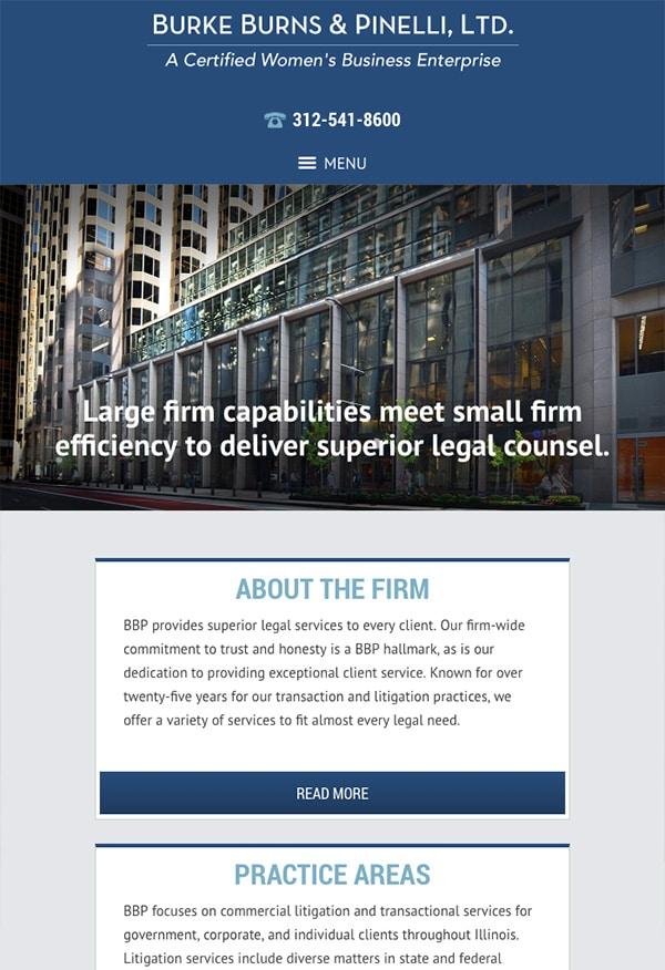 Mobile Friendly Law Firm Webiste for Burke Burns & Pinelli, Ltd