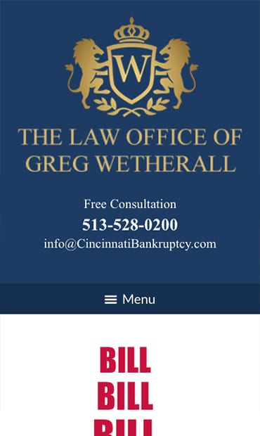 Responsive Mobile Attorney Website for The Law Office of Greg Wetherall