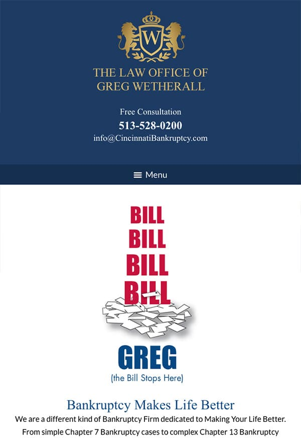 Mobile Friendly Law Firm Webiste for The Law Office of Greg Wetherall