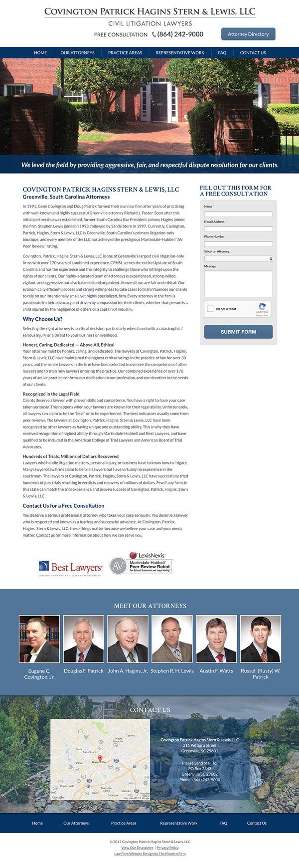Law Firm Website for Covington Patrick Hagins Stern & Lewis, LLC