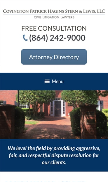 Responsive Mobile Attorney Website for Covington Patrick Hagins Stern & Lewis, LLC
