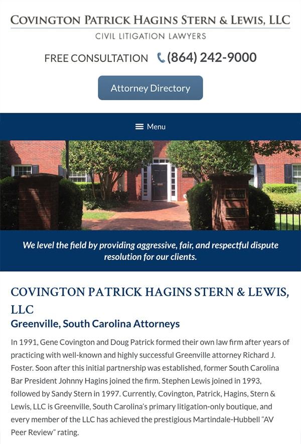 Mobile Friendly Law Firm Webiste for Covington Patrick Hagins Stern & Lewis, LLC