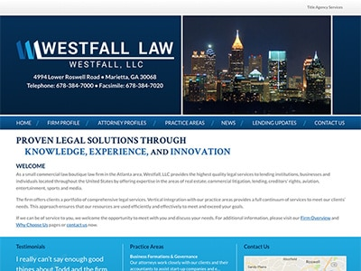 Law Firm Website design for Westfall, LLC
