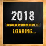2018 loading with progress bar, chalk drawing on blackboard