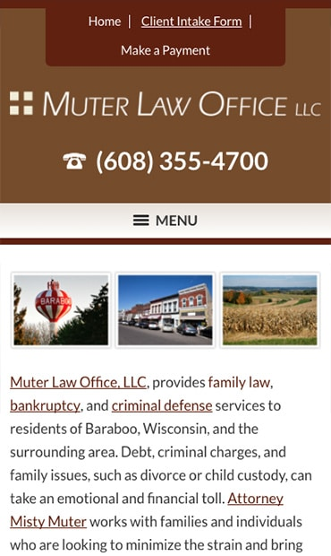 Responsive Mobile Attorney Website for Muter Law Office LLC