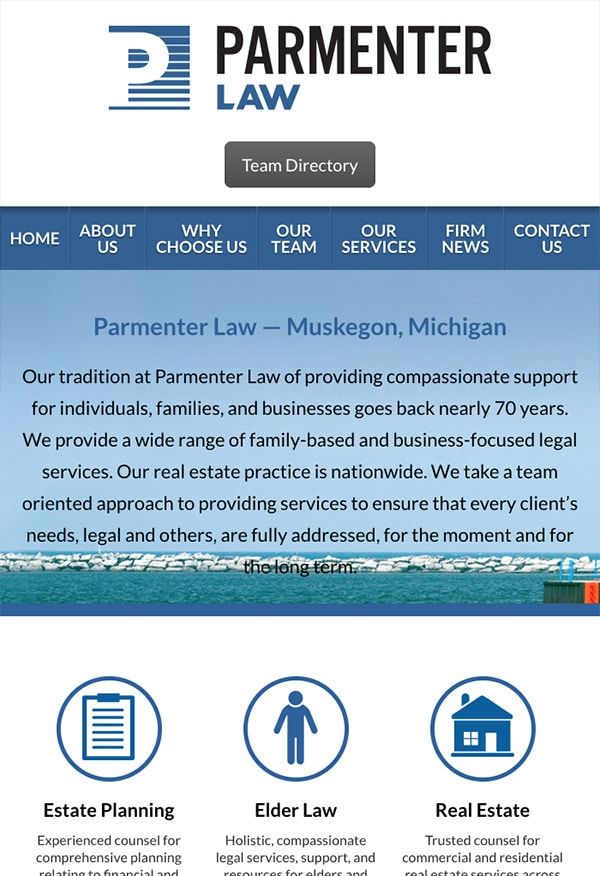 Mobile Friendly Law Firm Webiste for Parmenter Law