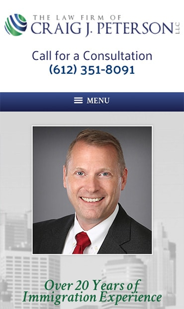 Responsive Mobile Attorney Website for The Law Firm of Craig J. Peterson L.L.C.