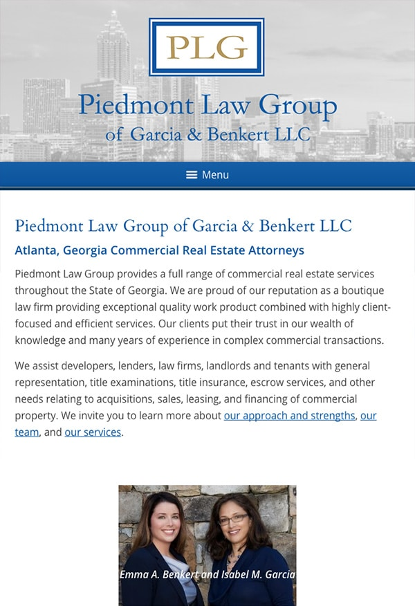 Mobile Friendly Law Firm Webiste for Piedmont Law Group of Garcia & Benkert LLC
