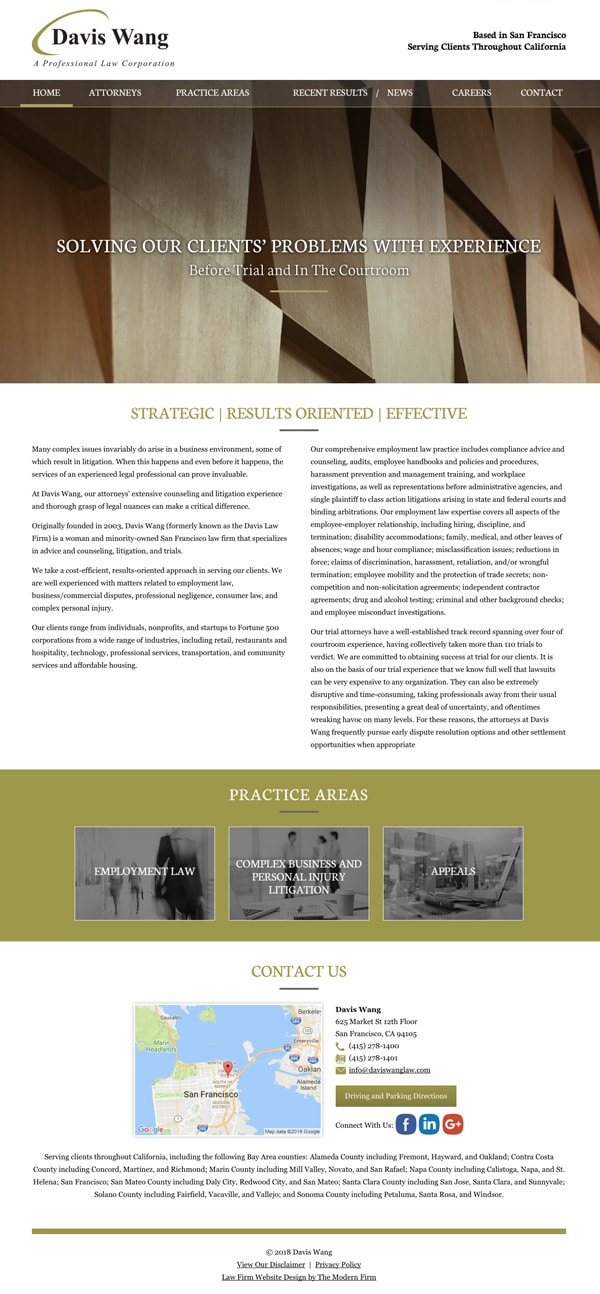 Law Firm Website Design for Davis Wang