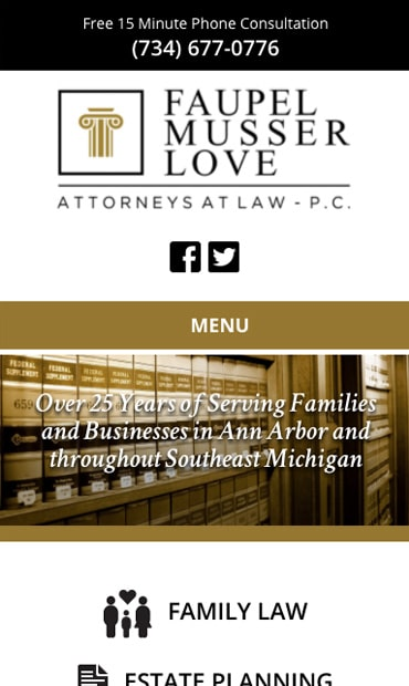 Responsive Mobile Attorney Website for Faupel Musser Love, P.C.