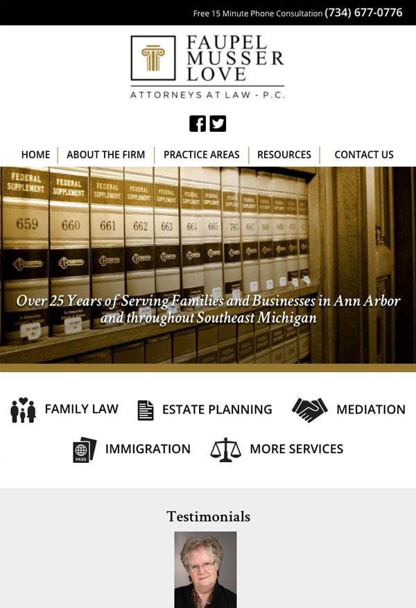 Mobile Friendly Law Firm Webiste for Faupel Musser Love, P.C.