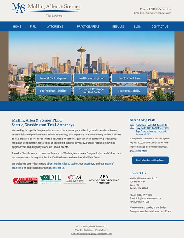 Law Firm Website Design for Mullin, Allen & Steiner PLLC