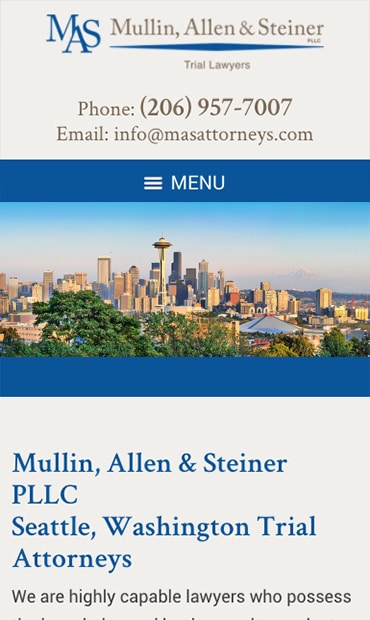 Responsive Mobile Attorney Website for Mullin, Allen & Steiner PLLC