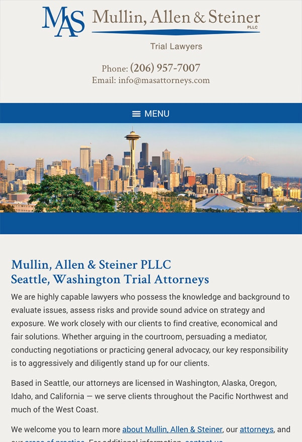 Mobile Friendly Law Firm Webiste for Mullin, Allen & Steiner PLLC