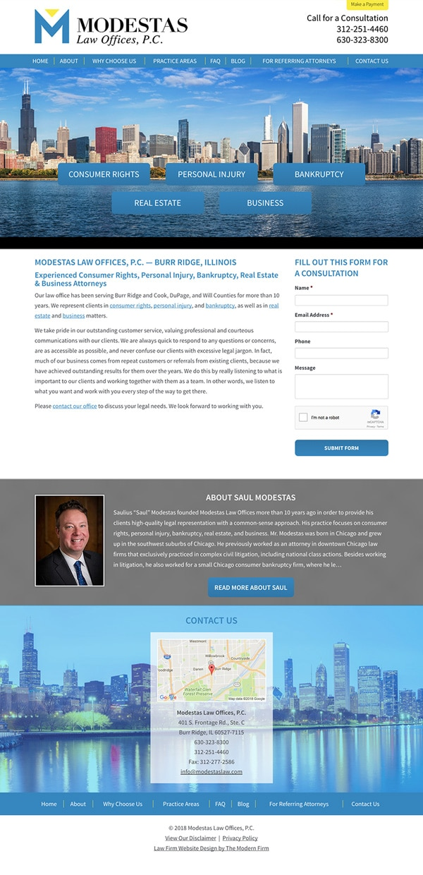 Law Firm Website Design for Modestas Law Offices, P.C.