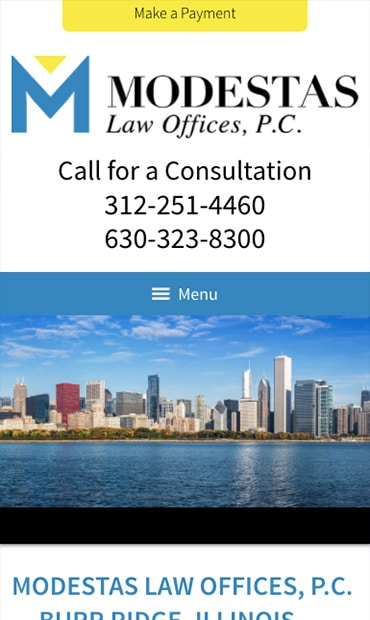 Responsive Mobile Attorney Website for Modestas Law Offices, P.C.